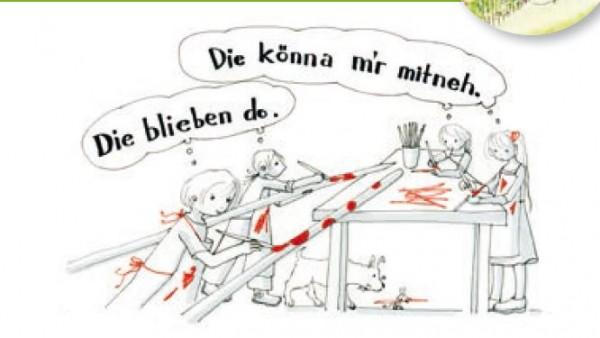 Zeichnung1_Workshop: Schneestangen bemalen. gezeichnet von Monika Hehle (c) Kulturabteilung des Landes Vorarlberg<br /> Zeichnung2_Ausmalbild SPUREN, Detail, gezeichnet von Monika Hehle (c) Lechmuseum